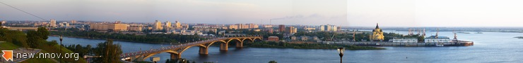 Нижний Новгород, нижняя часть, Стрелка и Канавинский мост. Панорама