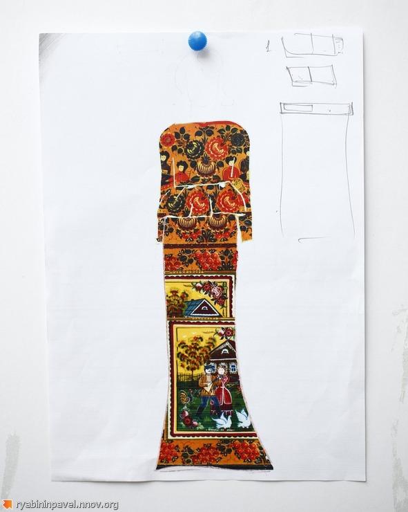 Эскизы коллекции Иволга с городецкой росписью. Дизайнер одежды Павел Рябинин Нижний Новгород