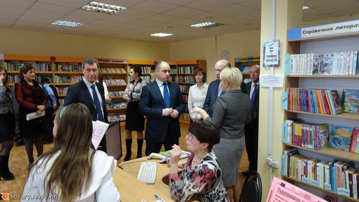 В.Шанцев и О.Кондрашов в центральной районной детской библиотеке Сормова