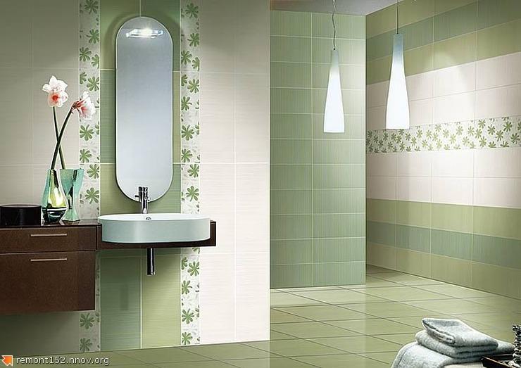 Керамическая плитка в ванной комнате в зеленых тонах