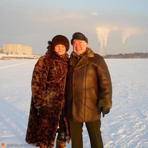 Владимир Герун с женой Ольгой на  реке ОКЕ