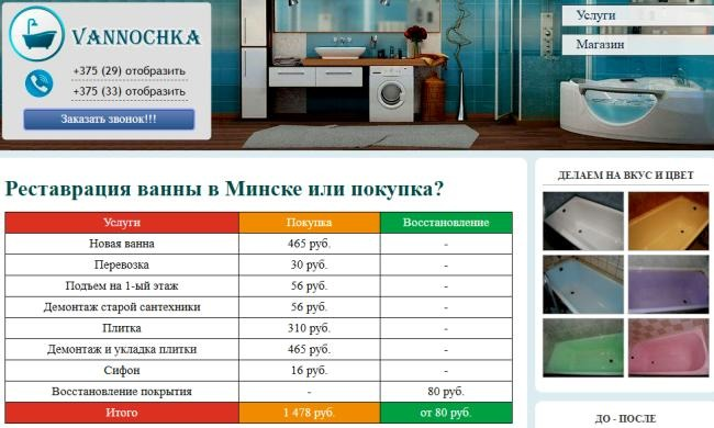 Реставрация Ванн vannochka.by Минск